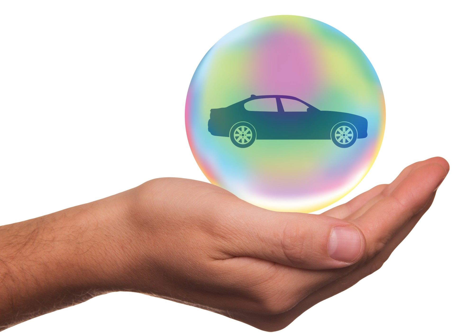 car in bubble in hand