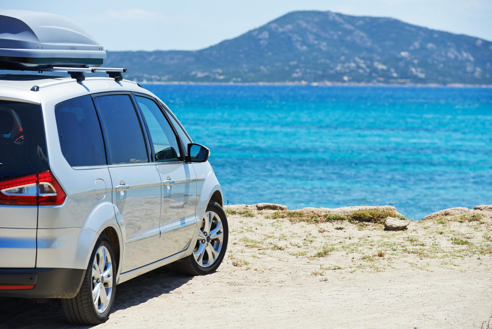 minivan at beach