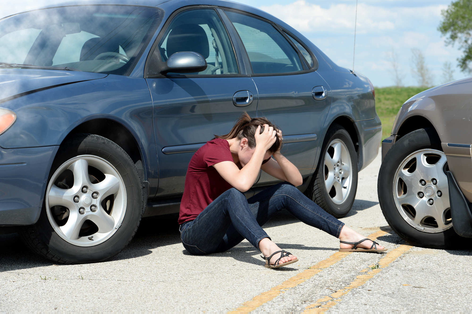 Woman on a Scene of a Car Accident
