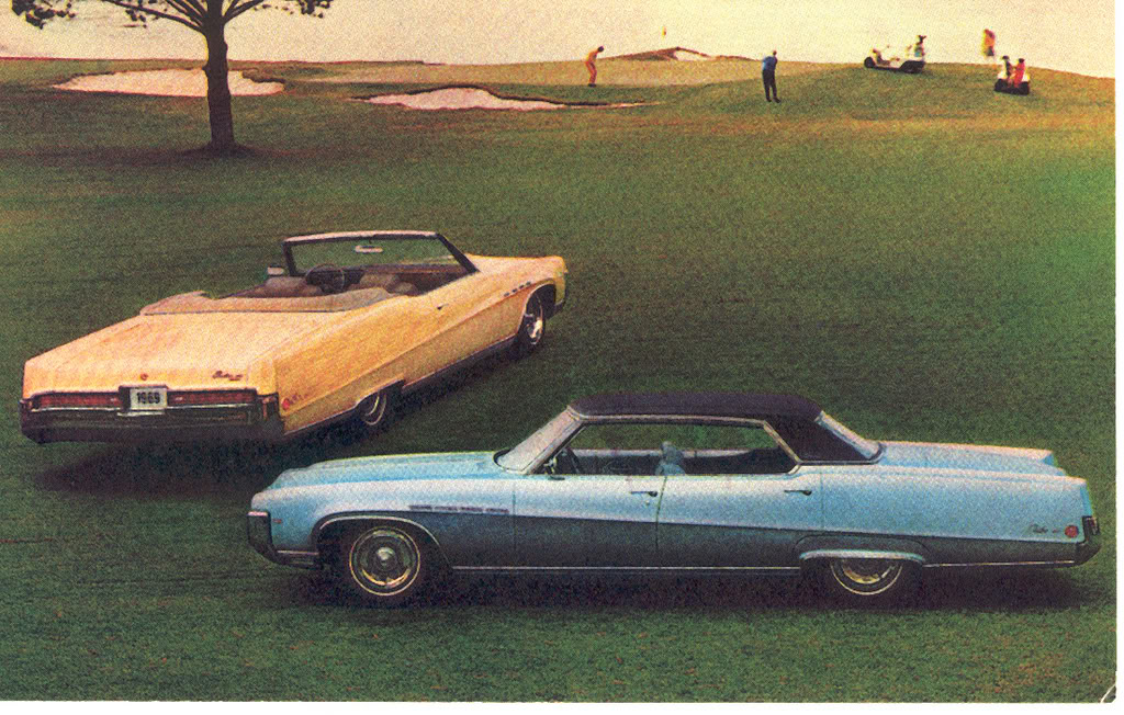Photo of two Buick Electra 225 convertibles on golf course