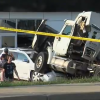 Cops Trucker choking on soda destroys new cars