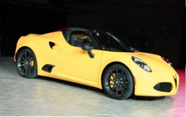 Newest Alfa Romeo 4C Spider at auto show in Detroit
